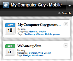Home page when viewed on the iPhone